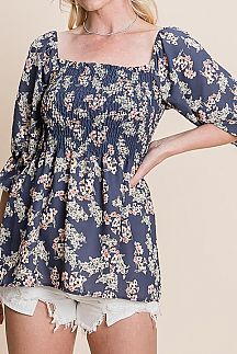 FLORAL PRINT SHORT PUFF SLEEVE TOP