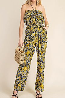 FLORAL PRINT TUBE TOP JUMPSUIT
