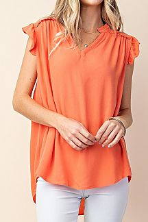 SOLID RUFFLE CAMP SLEEVE TUNIC TOP