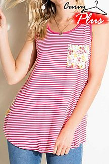 PIN STRIPED AND FLORAL PRINT COLOR BLOCK TANK TOP