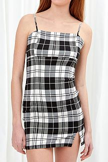 PLAID SPAGHETTI STRAPS BADYCON DRESS