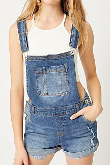 SOLID DENIM OVERALL SHORTS