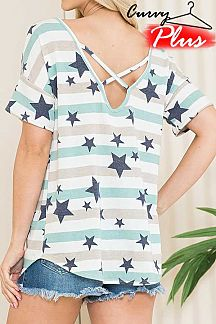 STRIPED AND STAR PRINT BACK CRISSCROSS TOP