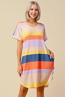 BOLD STRIPE SWING DRESS