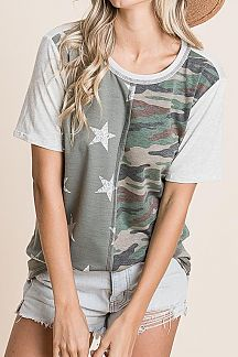 STAR AND CAMO PRINT COLOR BLOCK
