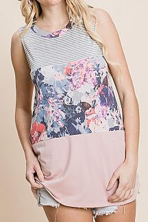 PINSTRIPED AND FLORAL PRINT COLOR BLOCK TANK TOP