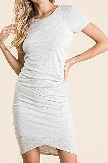 SOLID SIDE RUCHED DETAIL KNIT DRESS