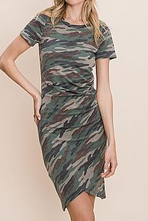 CAMO PRINT SIDE RUCHED DETAIL KNIT DRESS