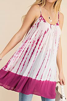 TIE DYE CRISSCROSS BACK CAMI DRESS