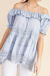 SWISS DOT LACE DETAIL OFF SHOULDER TOP