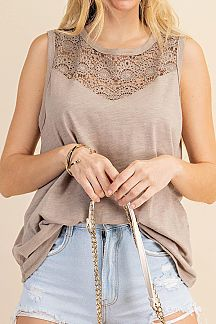 SOLID LACE YOKE DETAIL TANK TOP