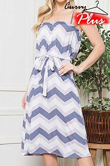 CHEVRON PRINT SLEEVELESS DRESS