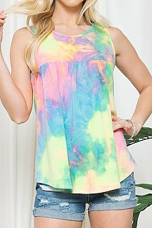 TIE DYE SLEEVELESS BABYDOLL TOP
