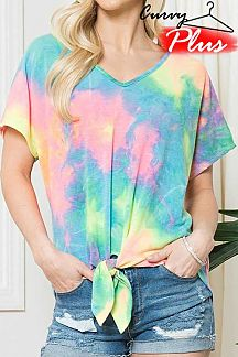 TIE DYE SHORT SLEEVE KNIT TOP