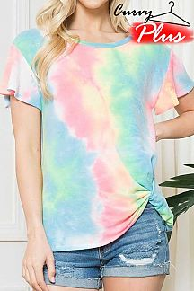 TIE DYE RUFFLE SHORT SLEEVE KNIT TOP