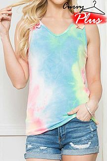 TIE DYE RUFFLE SHOULDER DETAIL TANK TOP