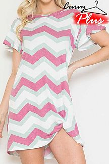 CHEVRON SHORT RUFFLE SLEEVE KNIT DRESS