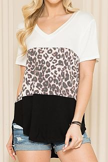 LEOPARD PRINT COLOR BLOCK SHORT SLEEVE TOP