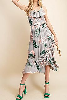 FLORAL PRINT CRISSCROSS GUAZE DRESS