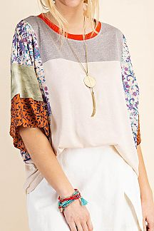 ETHNIC PRINT COLOR BLOCK KNIT TOP