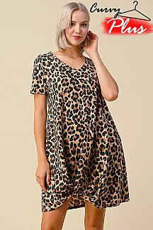 LEOPARD V-NECK FRONT TIE DRESS