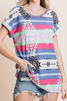 STRIPED AND AZTEC PRINT KNIT TUNIC TOP