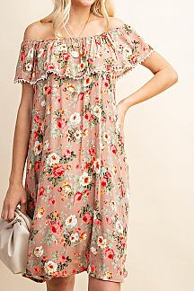 FLORAL PRINT FOLDED RUFFLE NECKLINE MIDI DRESS
