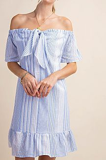 STRIPED OFF SHOULDER WOVEN DRESS