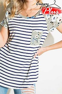 STRIPED CONTRAST FLORAL PRINT SHORT SLEEVE TOP