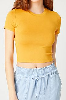 SOLID SHORT SLEEVE CROPPED KNIT TOP