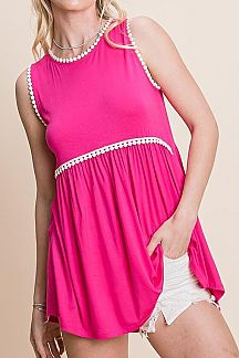 SOLID SLEEVELESS BABYDOLL TUNIC TOP