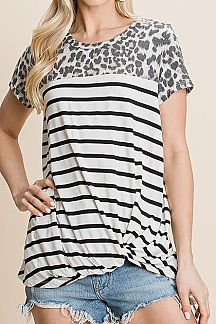 STRIPED CONTRAST LEOPARD PRINT DETAIL KNIT TOP