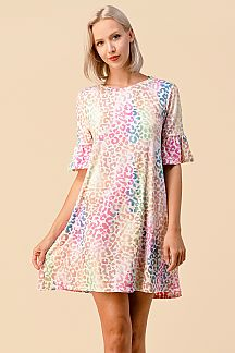 MULTI LEOPARD PRINT RUFFLE SLEEVE DRESS