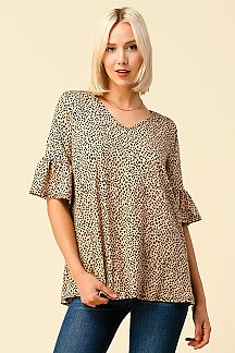 LEOPARD PRINT V-NECK BELL SLEEVE TOP