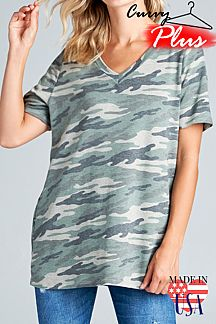 CAMOUFLAGE FRENCH TERRY V-NECK TOP