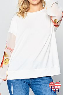 SOLID CONTRAST FLORAL PRINT WOVEN PUFF SLEEVE TOP