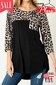 CHEETAH PRINT ACCENT SOLID KNIT TOP