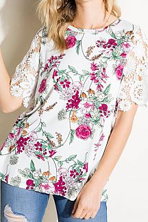 FLORAL PRINT LACE SHORT SLEEVE KNIT TOP