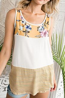 FLORAL PRINT AND STRIPED COLOR BLOCK TANK TUNIC TOP