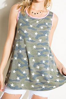 CAMO AND STAR PRINT TUNIC TANK TOP