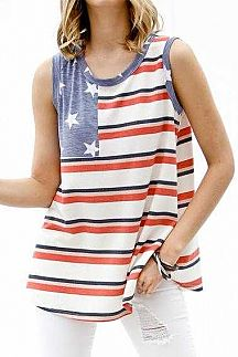 AMERICAN FLAG SLEEVELESS KNIT TOP