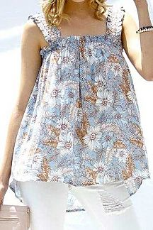 FLORAL PRINT SLEEVELESS BABYDOLL TOP