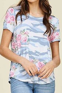 CAMO AND FLORAL PRINT SHORT SLEEVE KNIT TOP