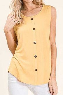 SOLID SLEEVELESS BUTTON FRONT TOP