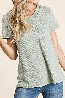 SOLID WAFFLE KNIT SHORT SLEEVE TOP