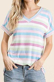 MULTI COLOR STRIPED SHORT SLEEVE TOP