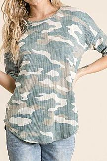 CAMO PRINT RIBBED KNIT TUNIC TOP