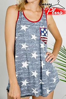 AMERICAN FLAG SEQUIN ACCENT STAR PRINT TANK TOP