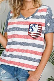 AMERICAN FLAG SEQUIN ACCENT FLAG PRINT KNIT TOP