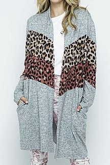ANIMAL PRINT COLOR BLOCK ACCENT LONG CARDIGAN